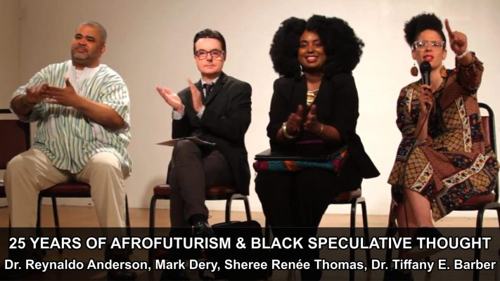 Color portrait featuring from right to left Dr. Tiffany E. Barber, Sheree Renée Thomas, Mark Dery, and Dr. Reynaldo Anderson